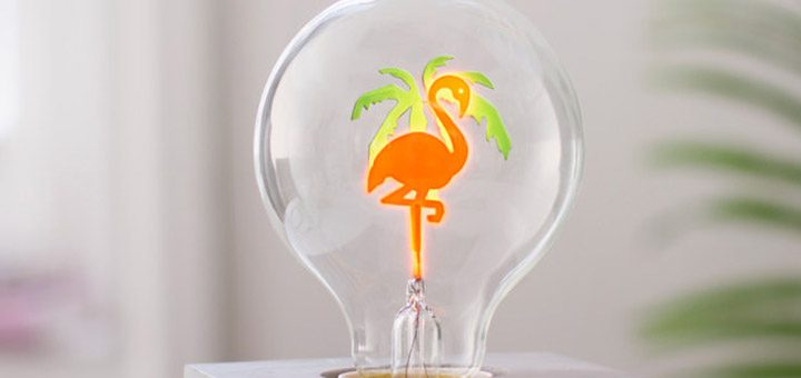 Ampoule flamant rose